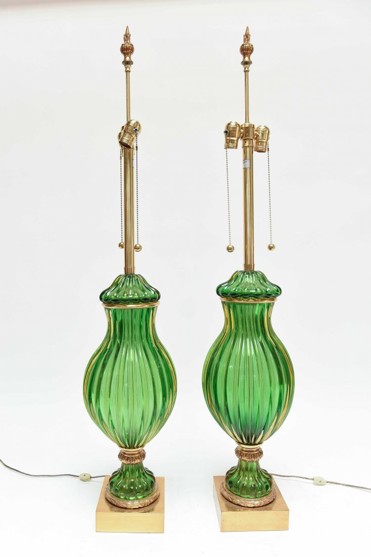 PAIR SEGUSO; MARBRO GREEN MURANO LAMPS