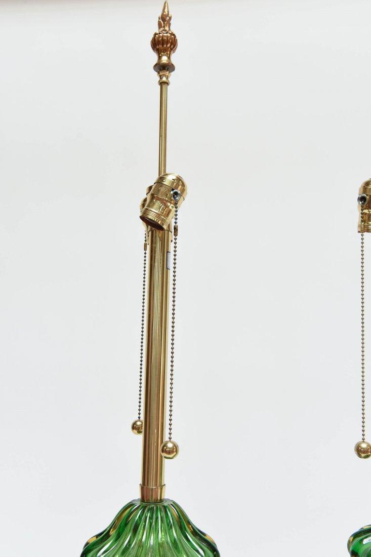 PAIR SEGUSO; MARBRO GREEN MURANO LAMPS - 6