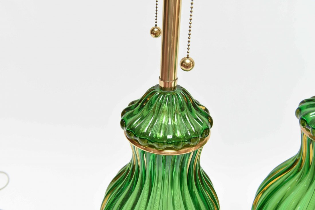 PAIR SEGUSO; MARBRO GREEN MURANO LAMPS - 7