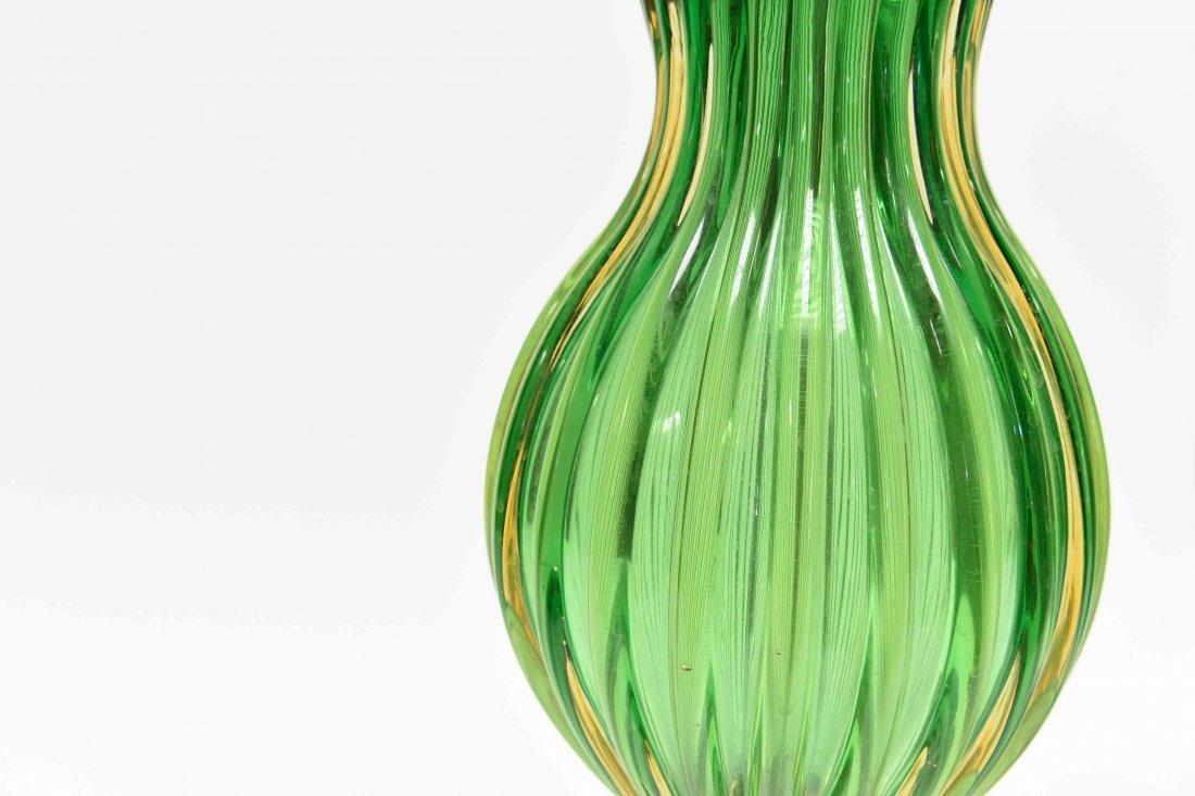 PAIR SEGUSO; MARBRO GREEN MURANO LAMPS - 9