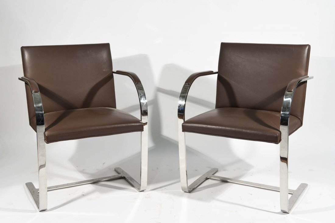 (2) FLAT BAR CHROME & LEATHER ARM CHAIRS