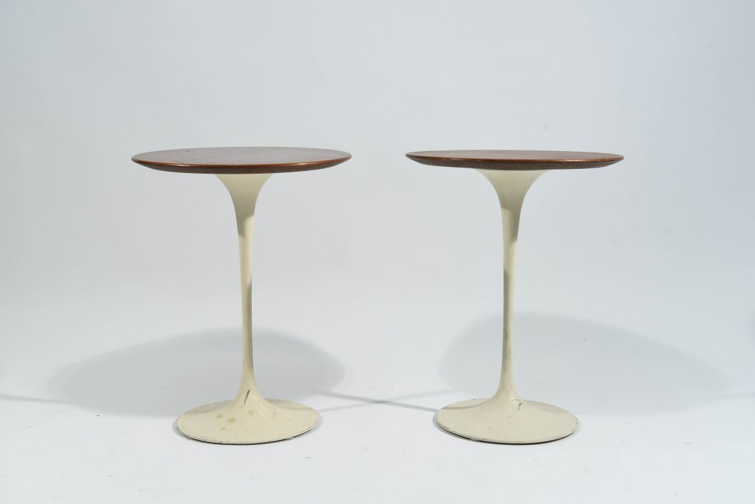 PAIR OF EERO SAARINEN FOR KNOLL WALNUT SIDE TABLES