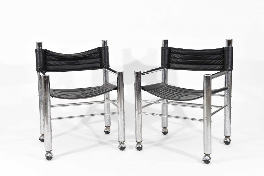 PAIR OF CHROME AND BLACK LEATHER CHAIRS