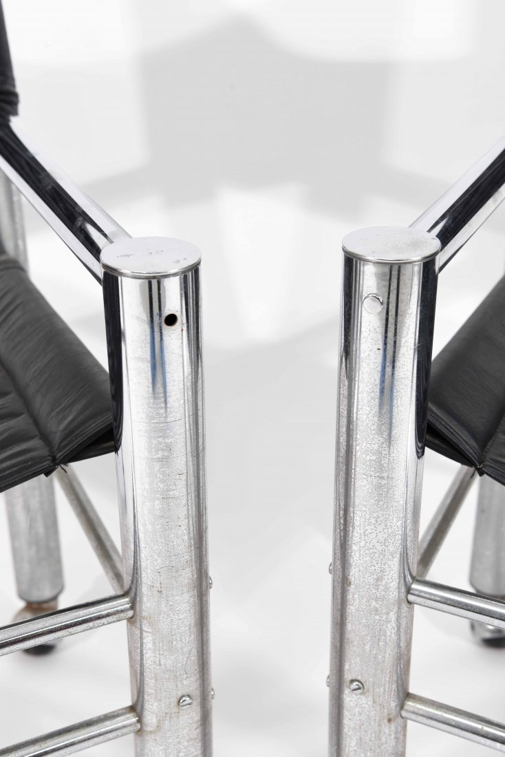 PAIR OF CHROME AND BLACK LEATHER CHAIRS - 4