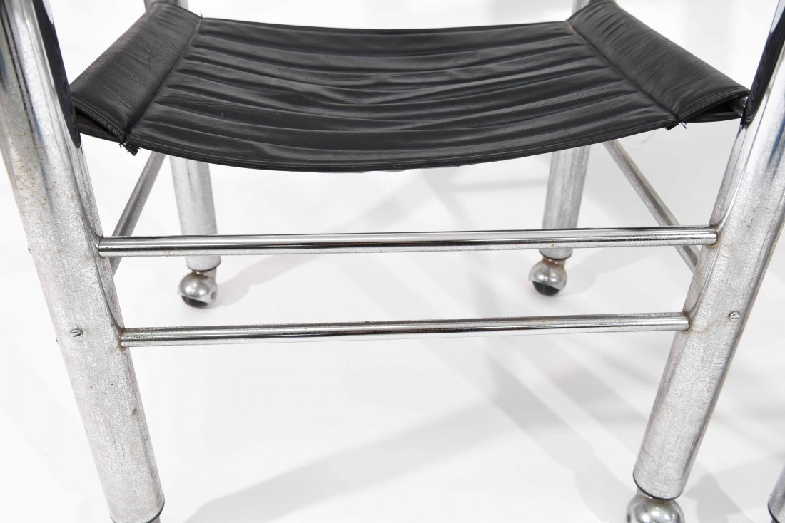 PAIR OF CHROME AND BLACK LEATHER CHAIRS - 5