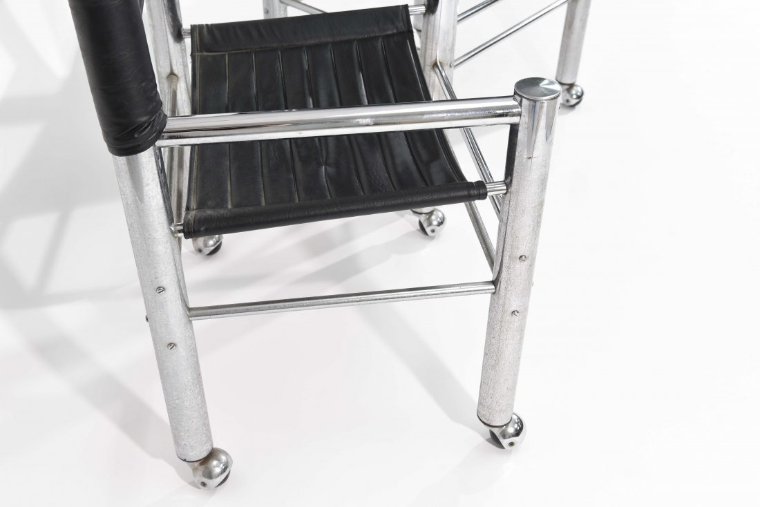 PAIR OF CHROME AND BLACK LEATHER CHAIRS - 6