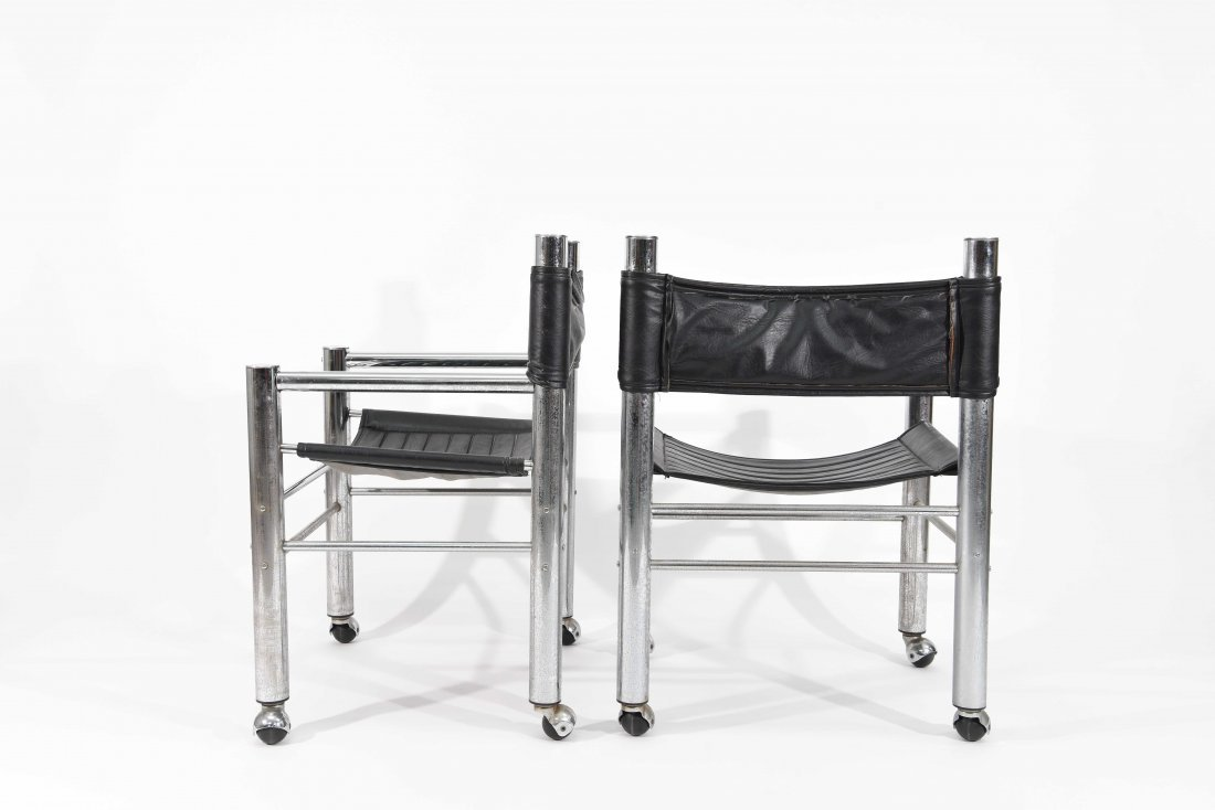 PAIR OF CHROME AND BLACK LEATHER CHAIRS - 8