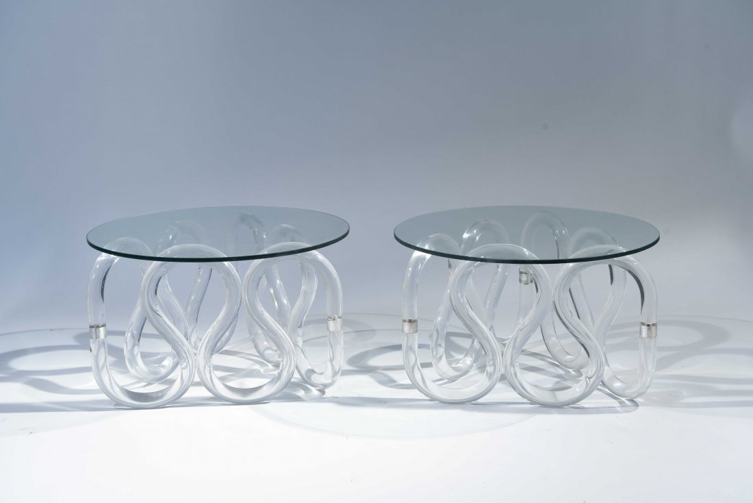 (2) HERB RITTS SCROLLED LUCITE BASE END TABLES