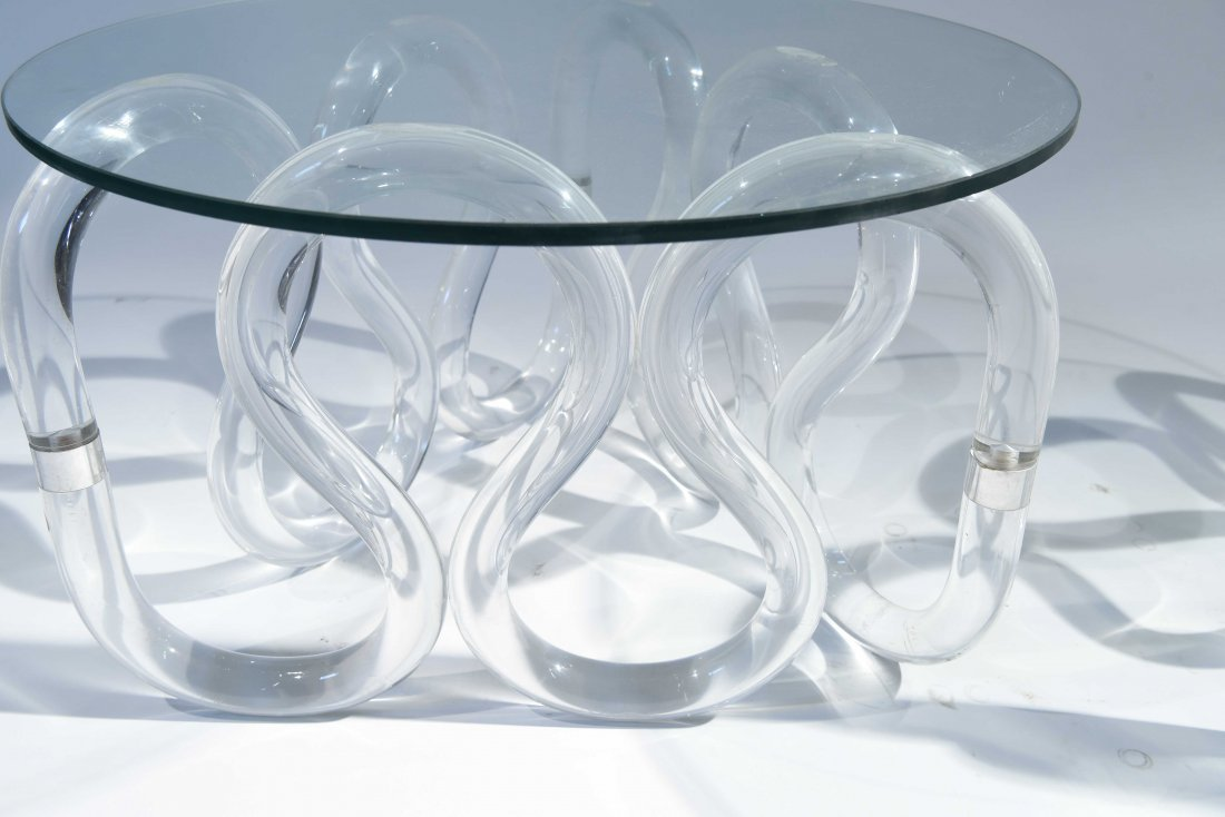 (2) HERB RITTS SCROLLED LUCITE BASE END TABLES - 3