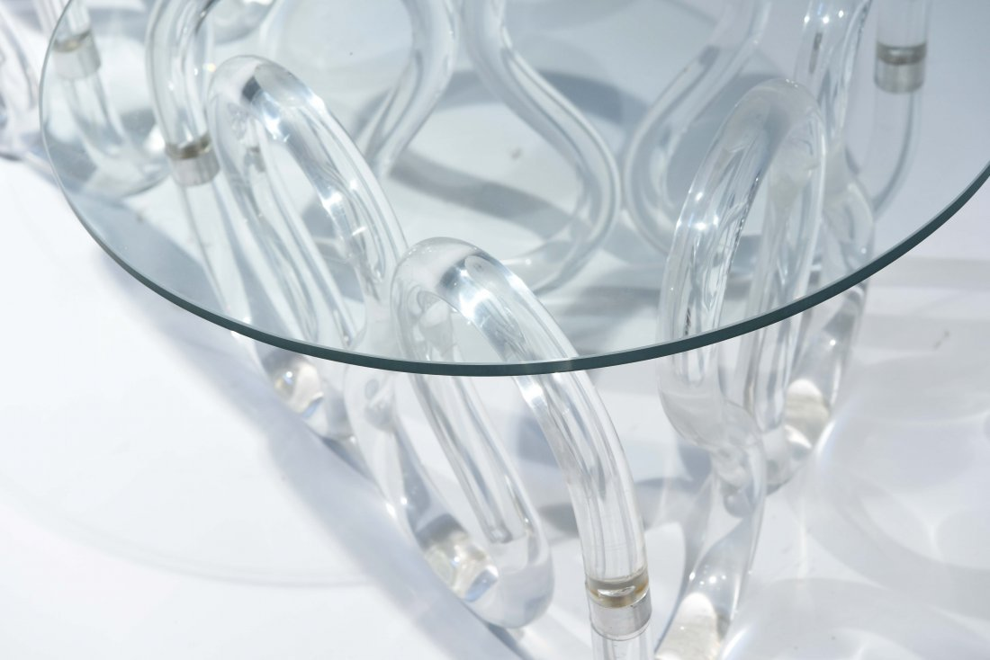 (2) HERB RITTS SCROLLED LUCITE BASE END TABLES - 6