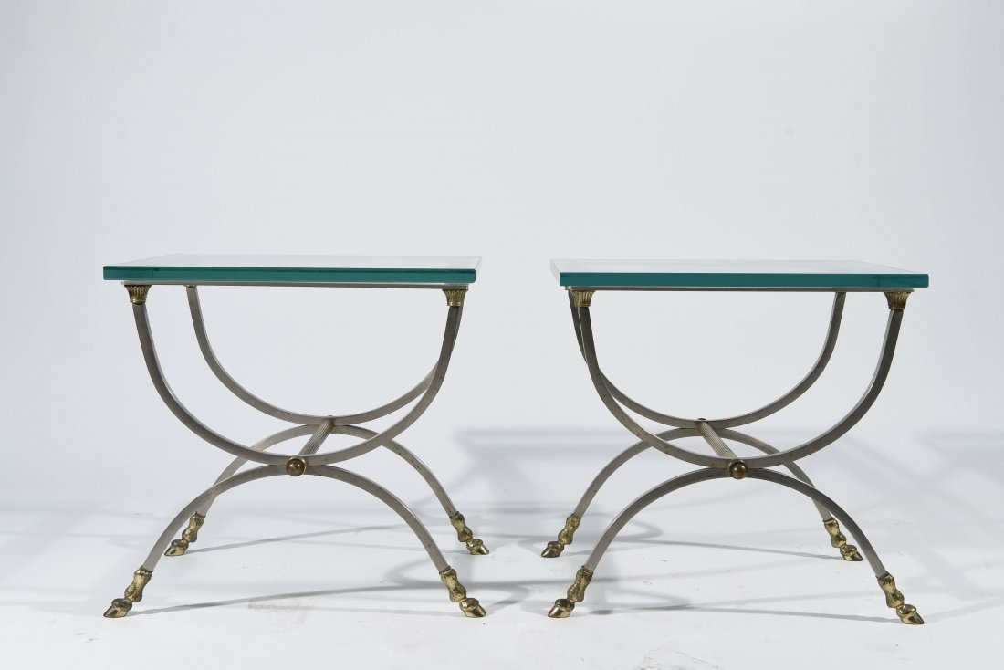 MAISEN JANSEN STYLE BRASS HOOF FEET SIDE TABLES