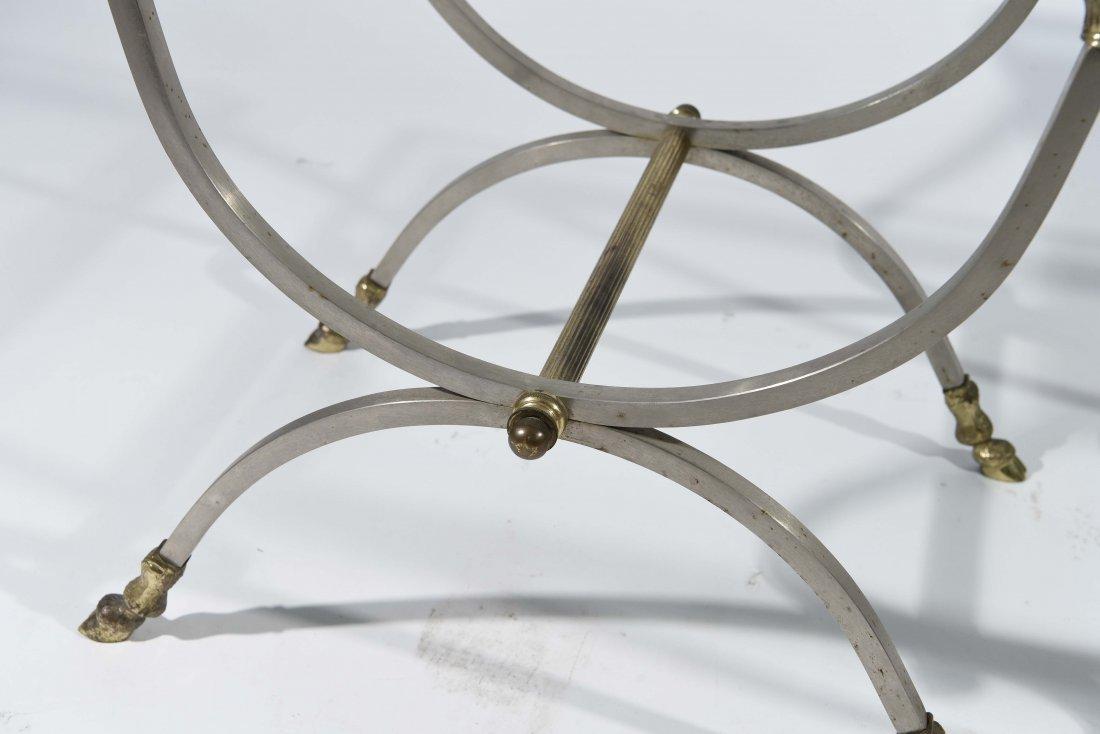 MAISEN JANSEN STYLE BRASS HOOF FEET SIDE TABLES - 2