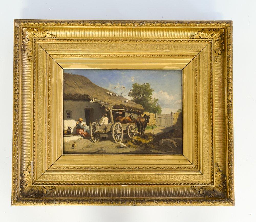 LEOPOLD MUNSCH (AUSTRIAN 1826-1888) HORSE CART,O/P
