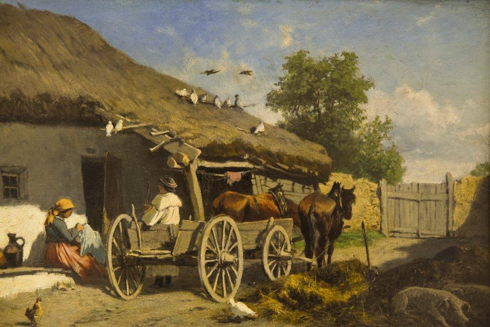 LEOPOLD MUNSCH (AUSTRIAN 1826-1888) HORSE CART,O/P - 2