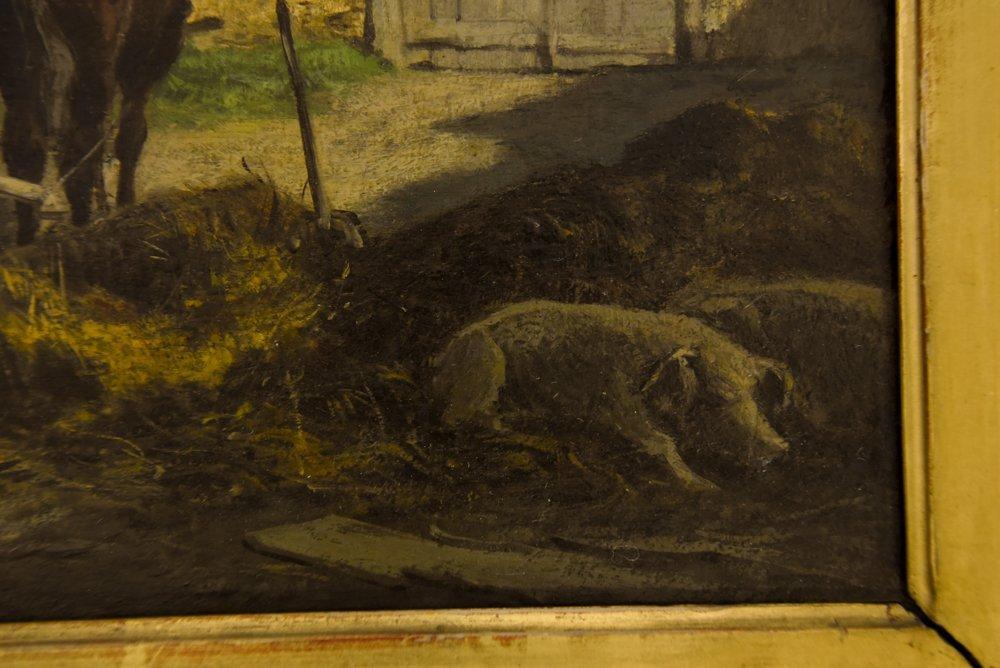 LEOPOLD MUNSCH (AUSTRIAN 1826-1888) HORSE CART,O/P - 3
