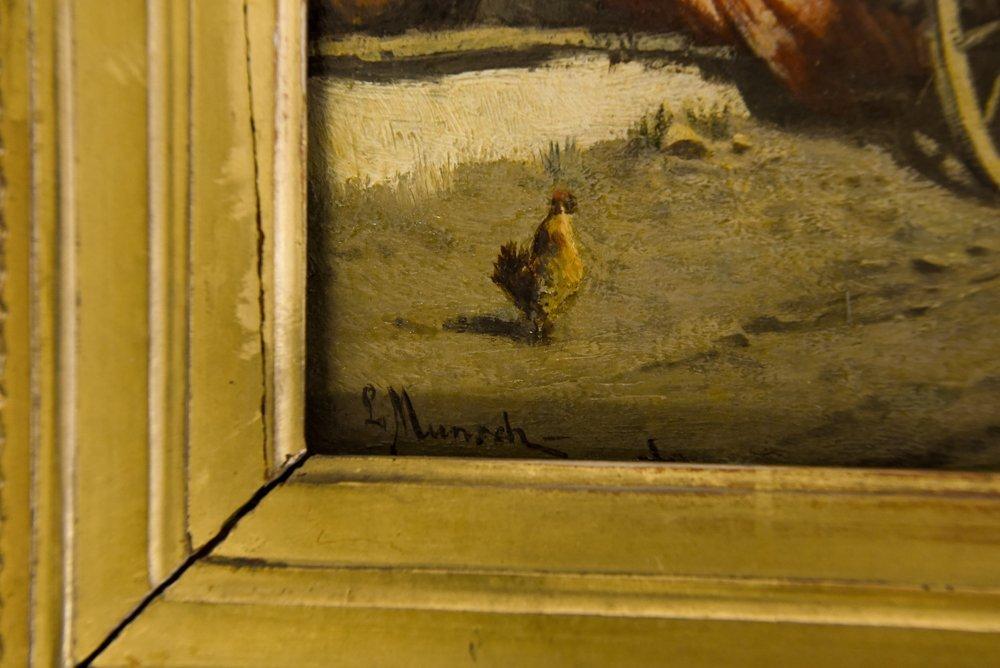 LEOPOLD MUNSCH (AUSTRIAN 1826-1888) HORSE CART,O/P - 4