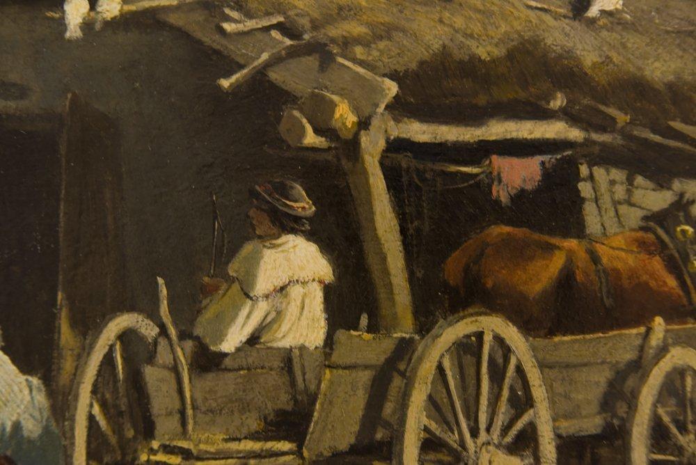 LEOPOLD MUNSCH (AUSTRIAN 1826-1888) HORSE CART,O/P - 5