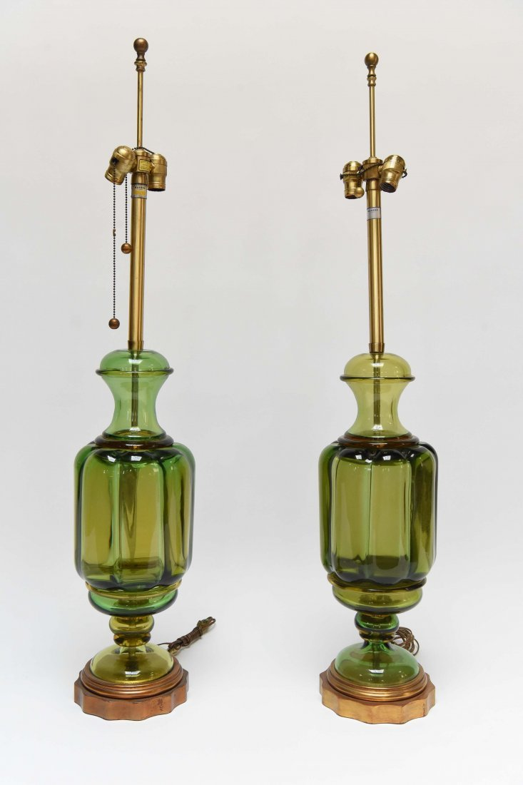 (2) SEGUSO; MARBRO APPLE GREEN MURANO LAMPS