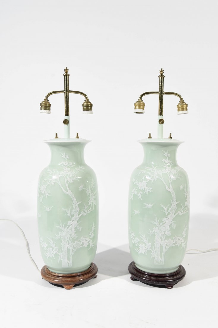 MID-CENTURY ASIAN CELEDON GREEN TABLE LAMPS