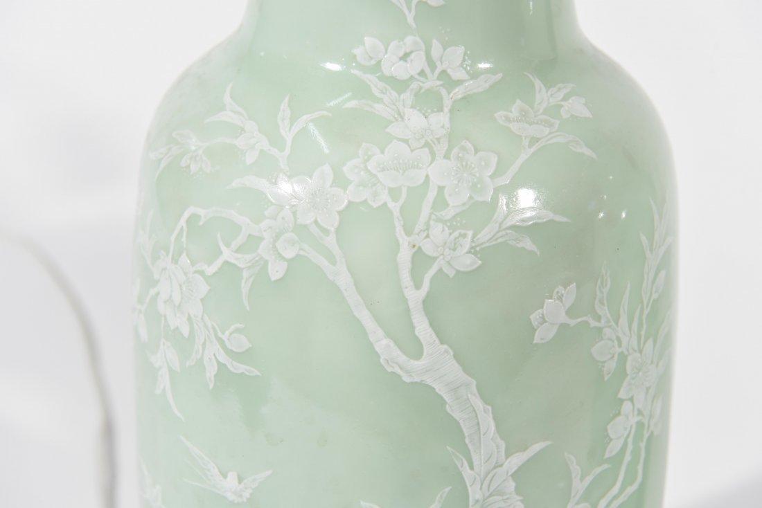 MID-CENTURY ASIAN CELEDON GREEN TABLE LAMPS - 4