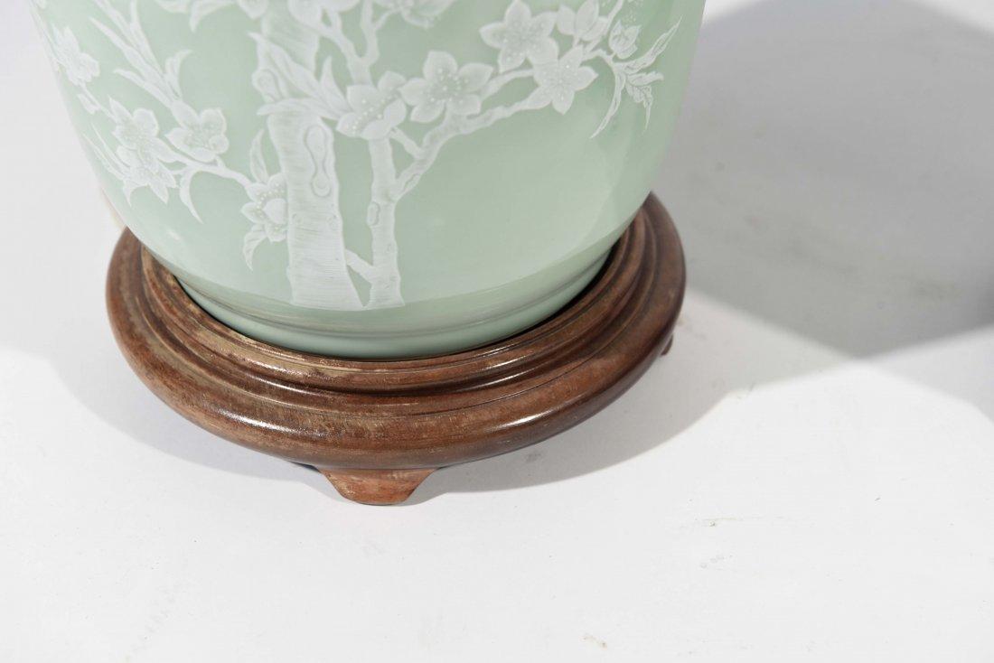 MID-CENTURY ASIAN CELEDON GREEN TABLE LAMPS - 5