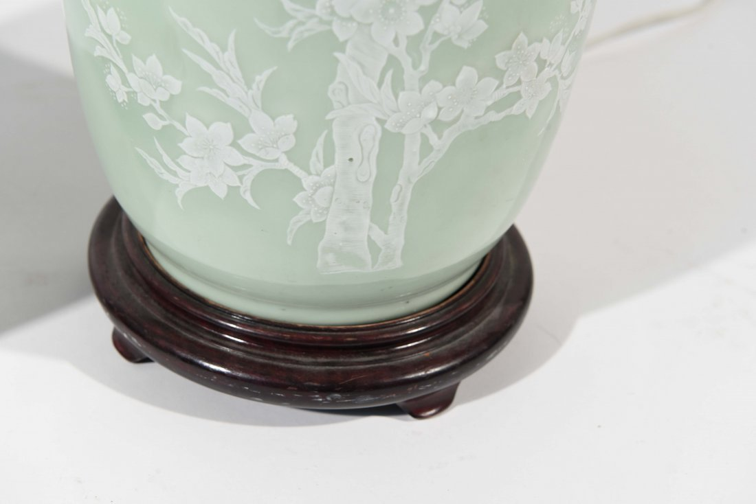 MID-CENTURY ASIAN CELEDON GREEN TABLE LAMPS - 6