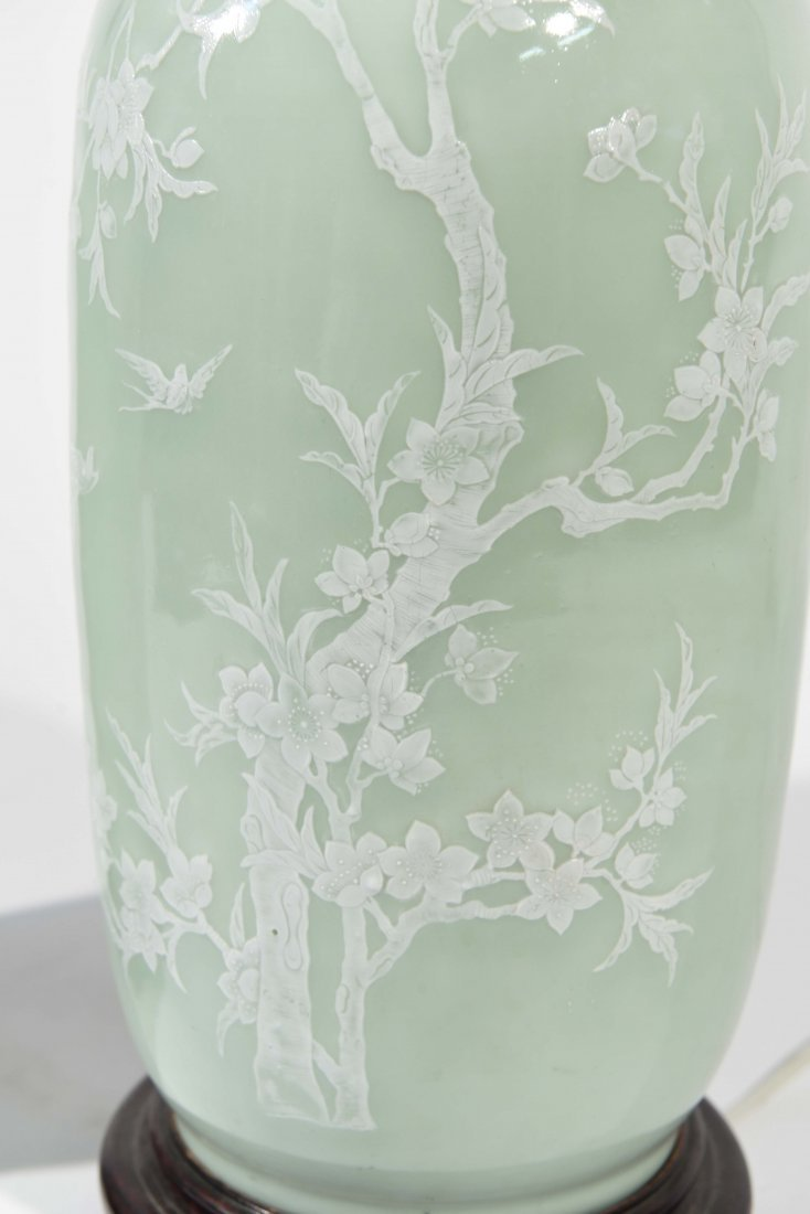 MID-CENTURY ASIAN CELEDON GREEN TABLE LAMPS - 7