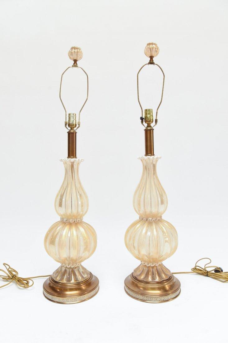 (2) BAROVIER & TOSO ITALIAN C. 1950S TABLE LAMPS