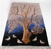 EGYPTIAN FOLK ART TAPESTRY TREE AND BIRDS