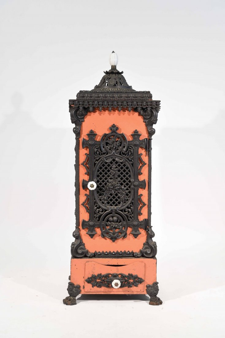 19TH C. CAST-IRON ENAMELED STOVE