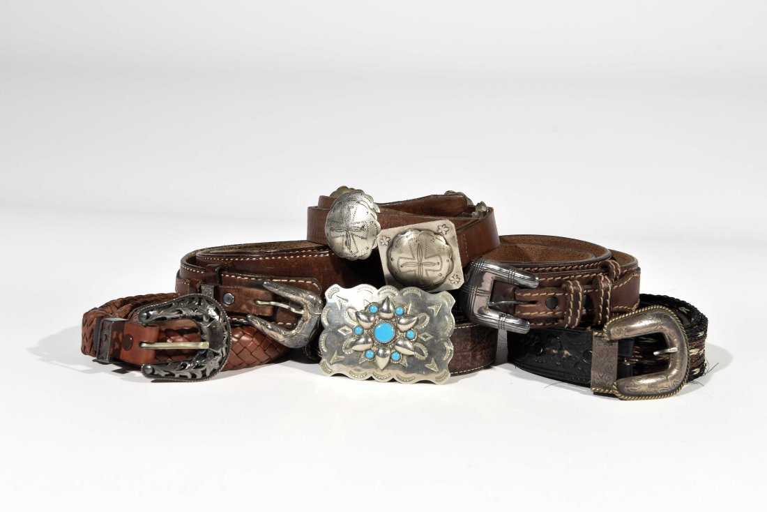 GROUPING OF NATIVE AMERICAN & WESTERN BELTS &