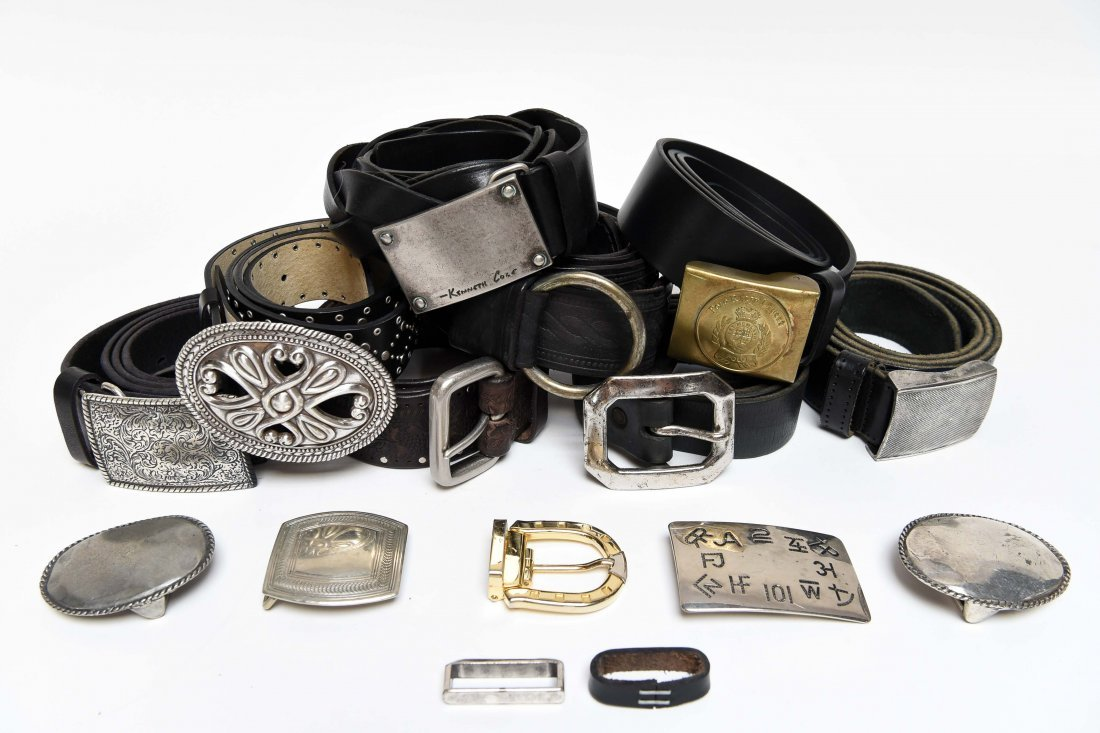 GROUPING OF DESIGNER BELTS & BUCKLES