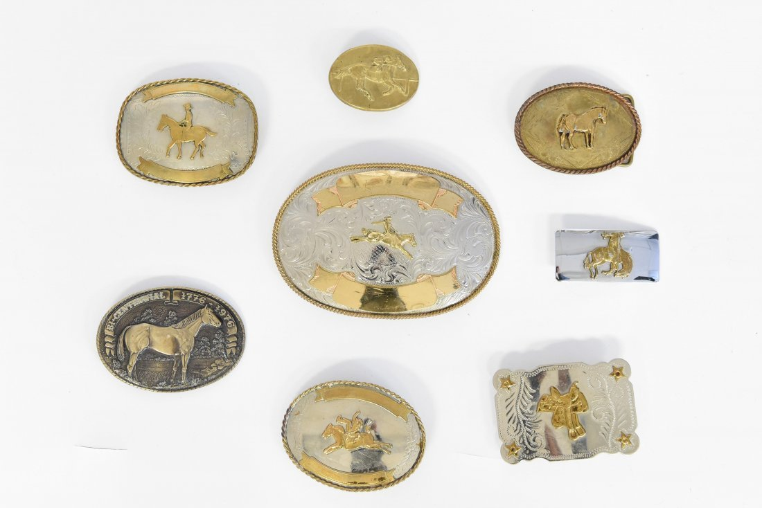 GROUPING OF WESTERN BELT BUCKLES W/ HORSES