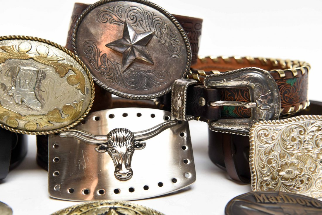 GROUPING OF WESTERN BELTS AND BUCKLES - 6