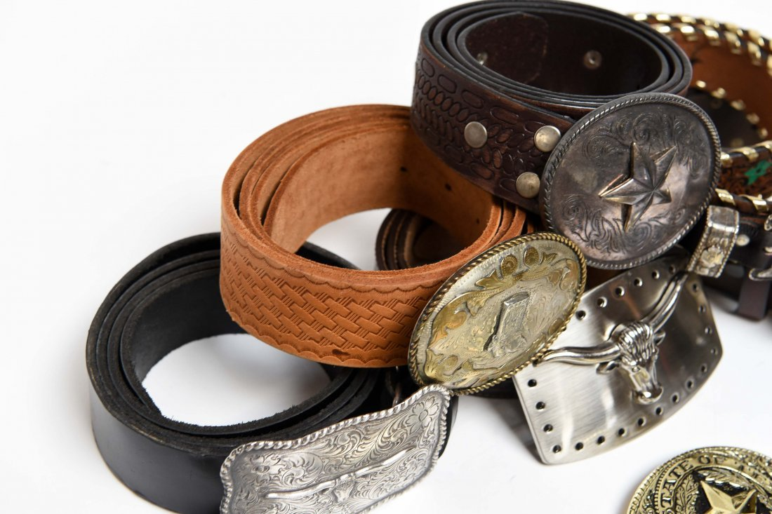 GROUPING OF WESTERN BELTS AND BUCKLES - 8