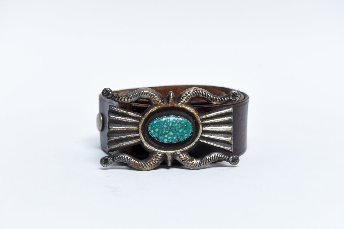 NATIVE AMERICAN SILVER & TURQUOISE BELT BUCKLE