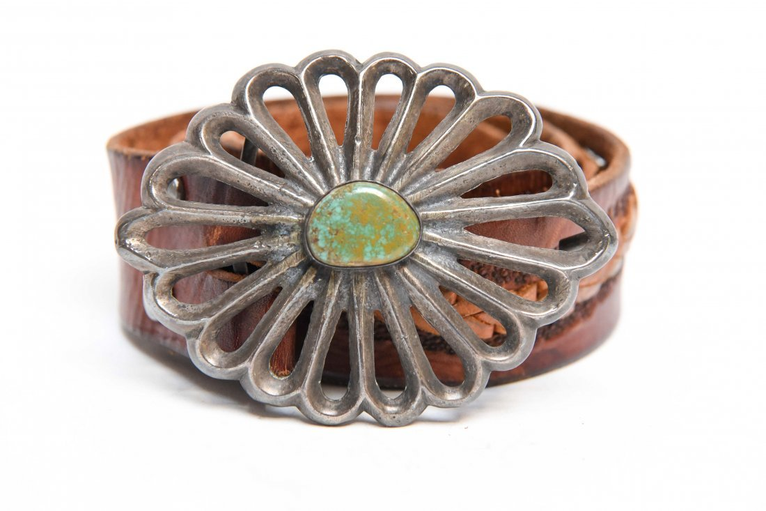 NATIVE AMERICAN SILVER & TURQUOISE BELT BUCKLE - 2