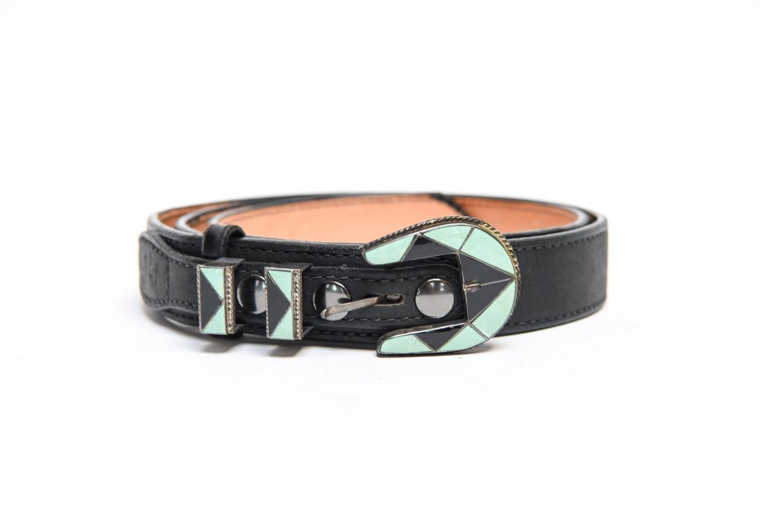 STERLING SILVER AND TURQUOISE BELT BUCKLE