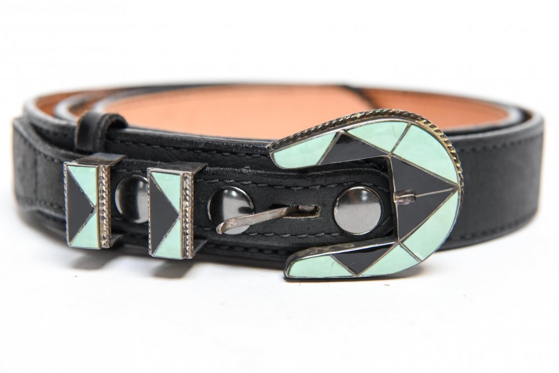 STERLING SILVER AND TURQUOISE BELT BUCKLE - 2