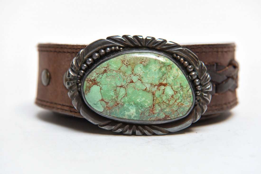 STERLING SILVER & TURQUOISE BELT BUCKLE - 2