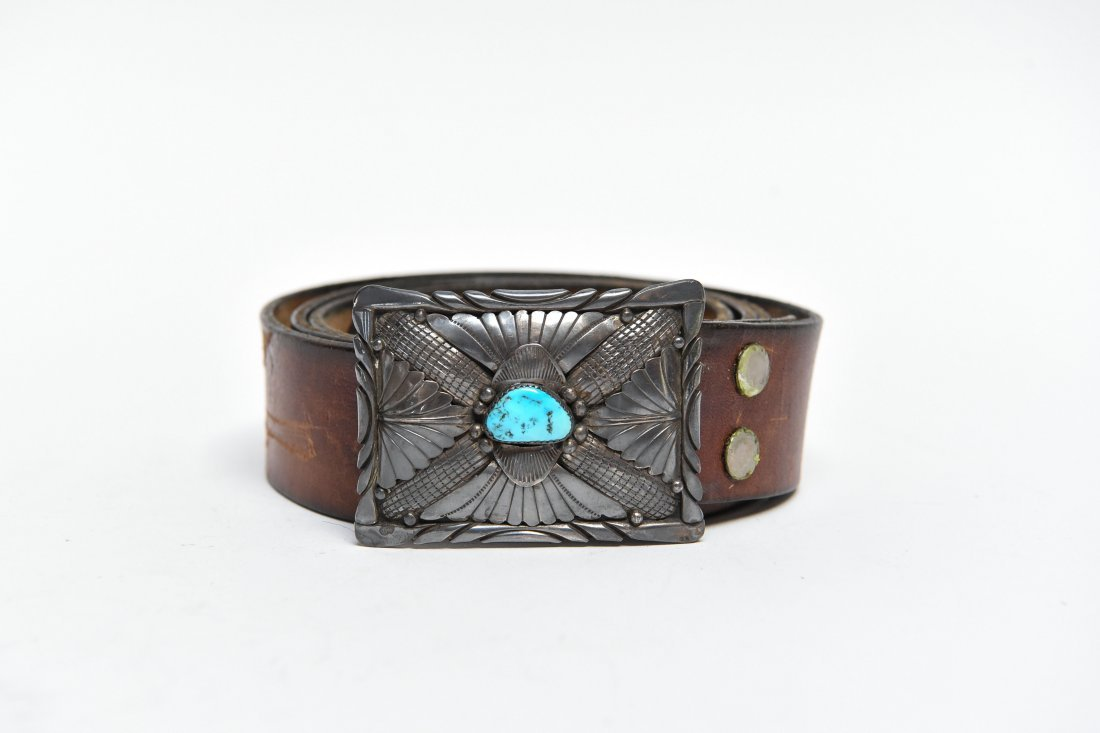 STERLING & TURQUOISE NATIVE AMERICAN BELT BUCKLE