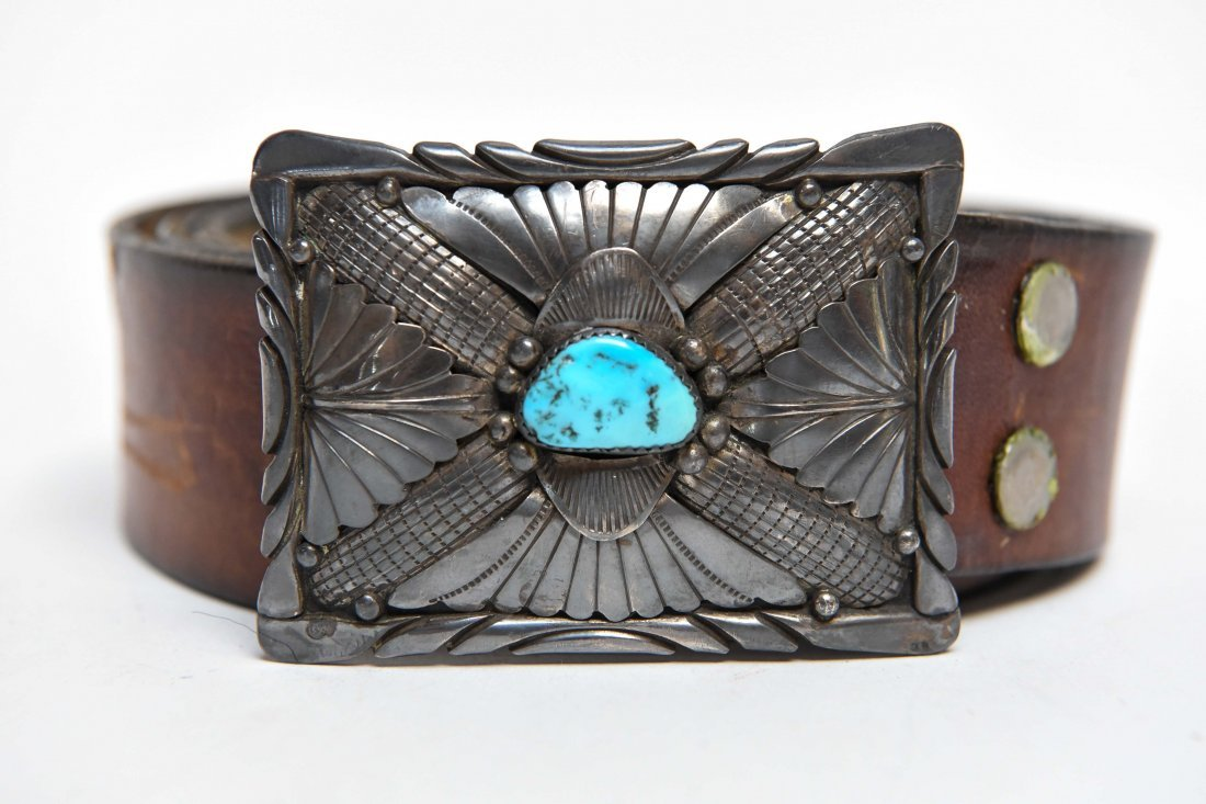 STERLING & TURQUOISE NATIVE AMERICAN BELT BUCKLE - 2