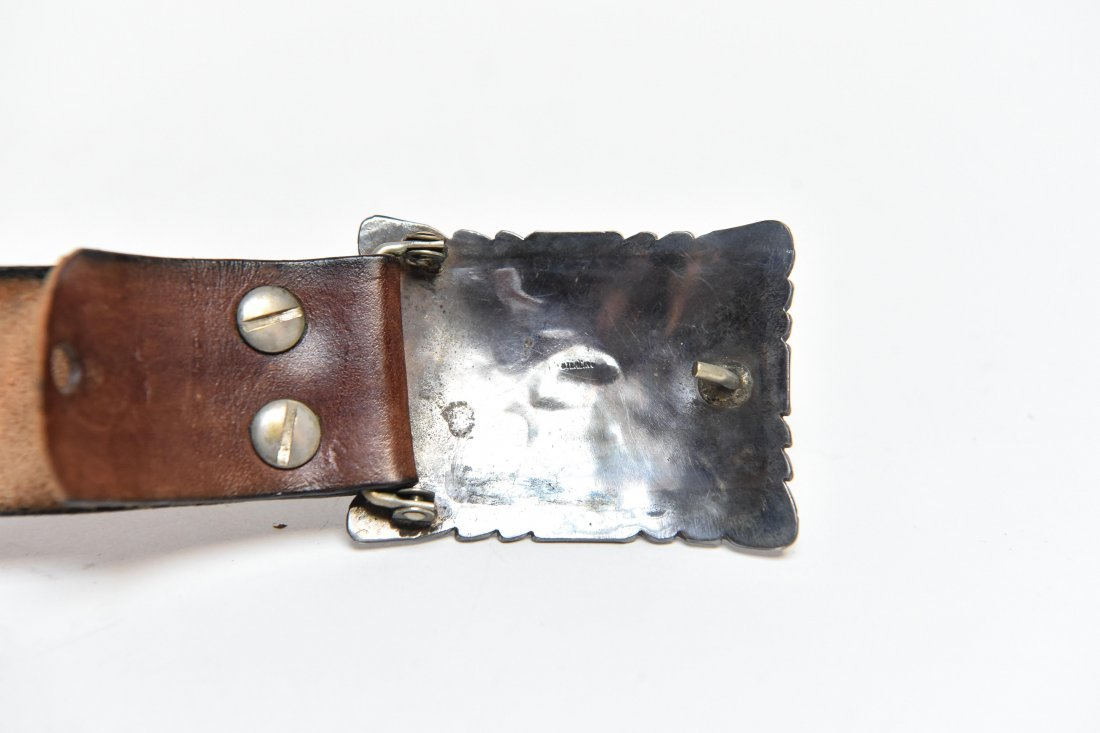STERLING & TURQUOISE NATIVE AMERICAN BELT BUCKLE - 4