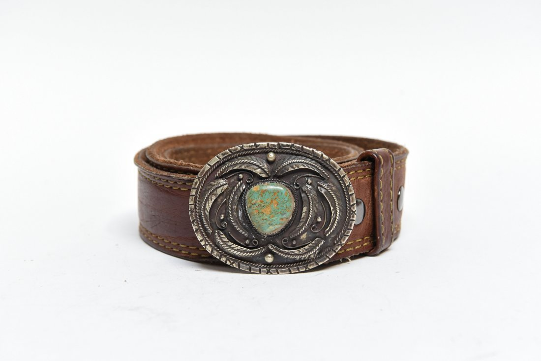 STERLING & TURQUOISE BELT BUCKLE