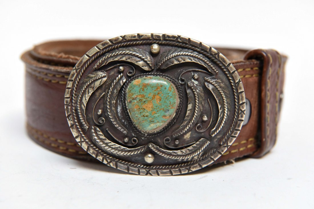 STERLING & TURQUOISE BELT BUCKLE - 2