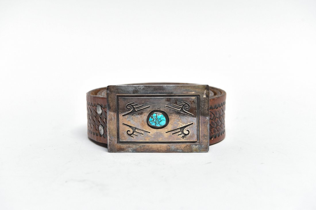 STERLING SILVER & TURQUOISE BELT BUCKLE