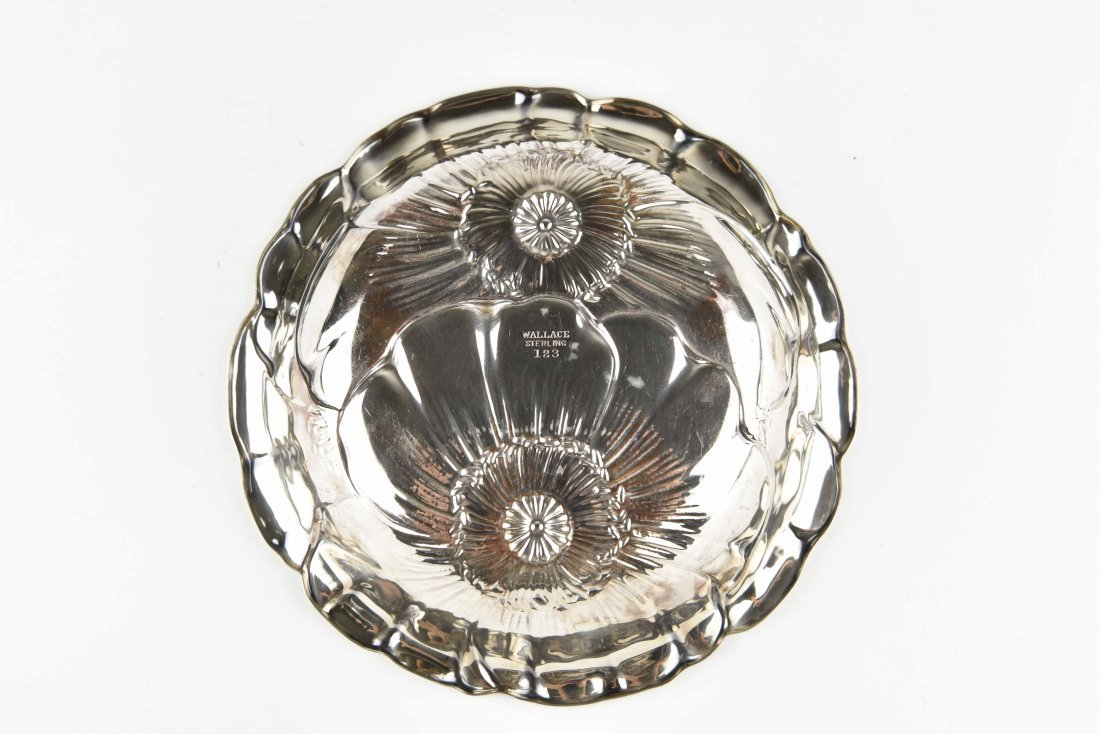 WALLACE STERLING SILVER FLOWER BOWL - 3