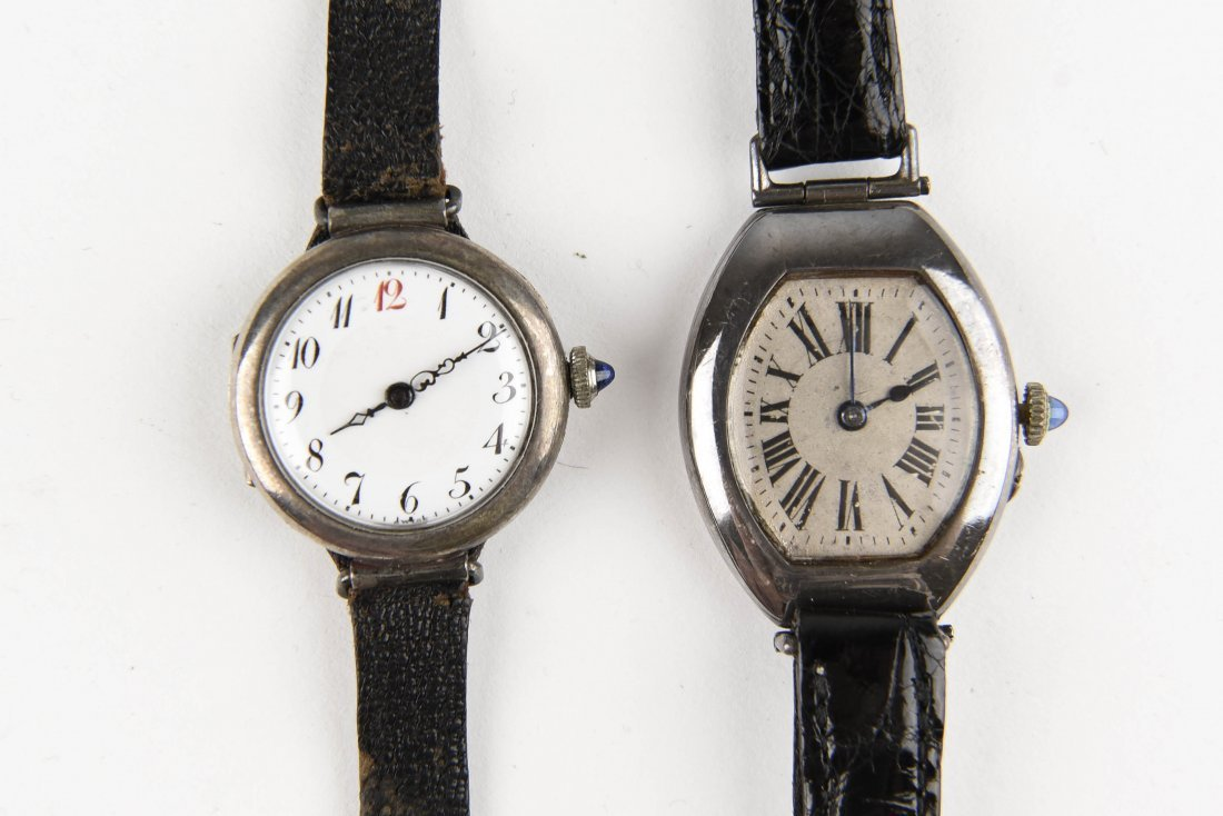 TWO SILVER WRISTWATCHES