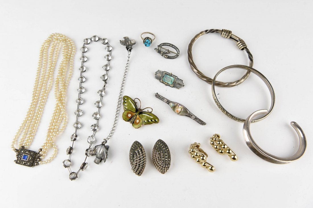 GROUPING OF STERLING JEWELRY ETC.