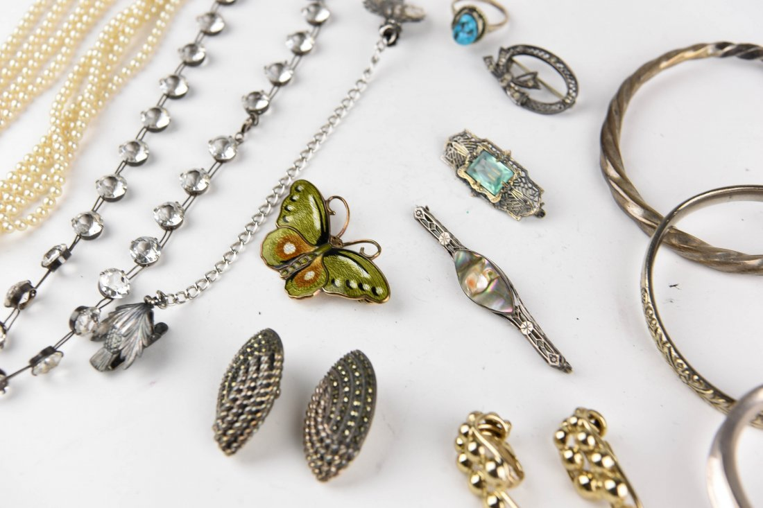 GROUPING OF STERLING JEWELRY ETC. - 9